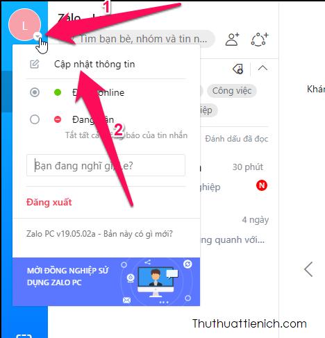 Nhấn vào biểu tượng Online/Offline bên cạnh ảnh đại diện của bạn chọn Cập nhật thông tin