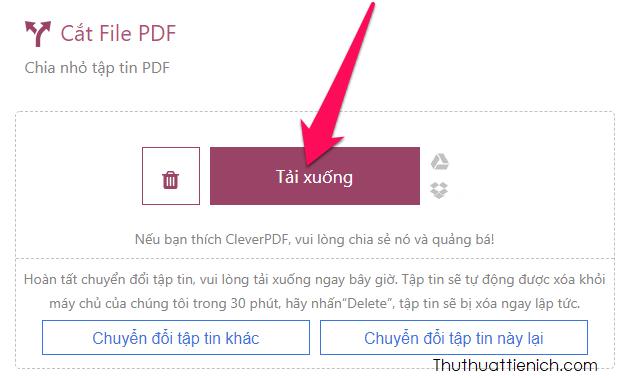 Nhấn nút Tải xuống để tải về file hoặc tệp chứa các file PDF sau khi tách