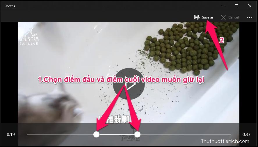 Kéo hình tròn ở 2 điểm đầu và cuối của video để chọn phần video muốn giữ lại rồi nhấn nút Save as