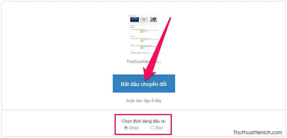 Chọn định dạng file Word (docx hoặc doc) rồi nhấn nút Bắt đầu chuyển đổi