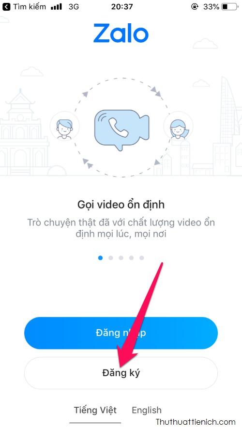 Mở ứng dụng Zalo, nhấn nút Đăng ký