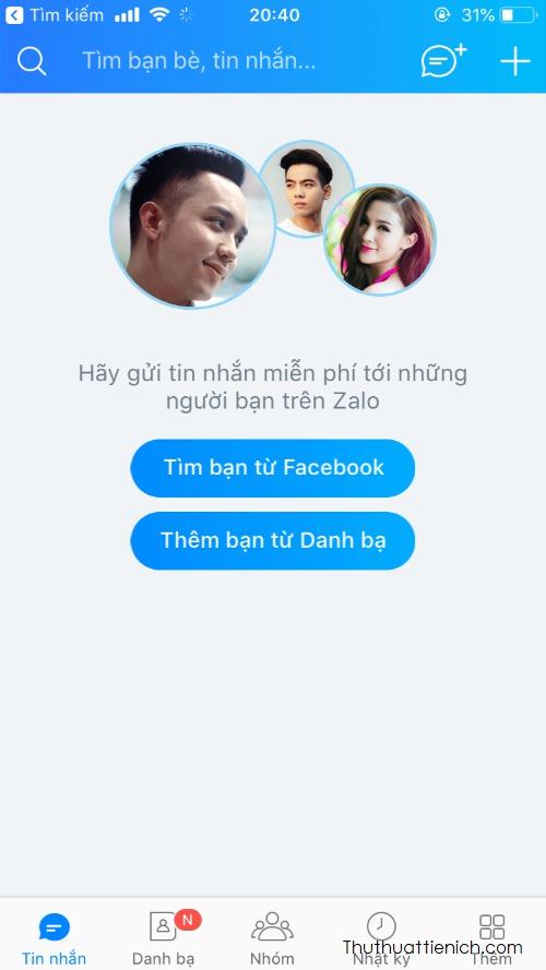 Vậy là bạn đã tạo xong một tài khoản Zalo rồi đó, hình dưới là giao diện Zalo