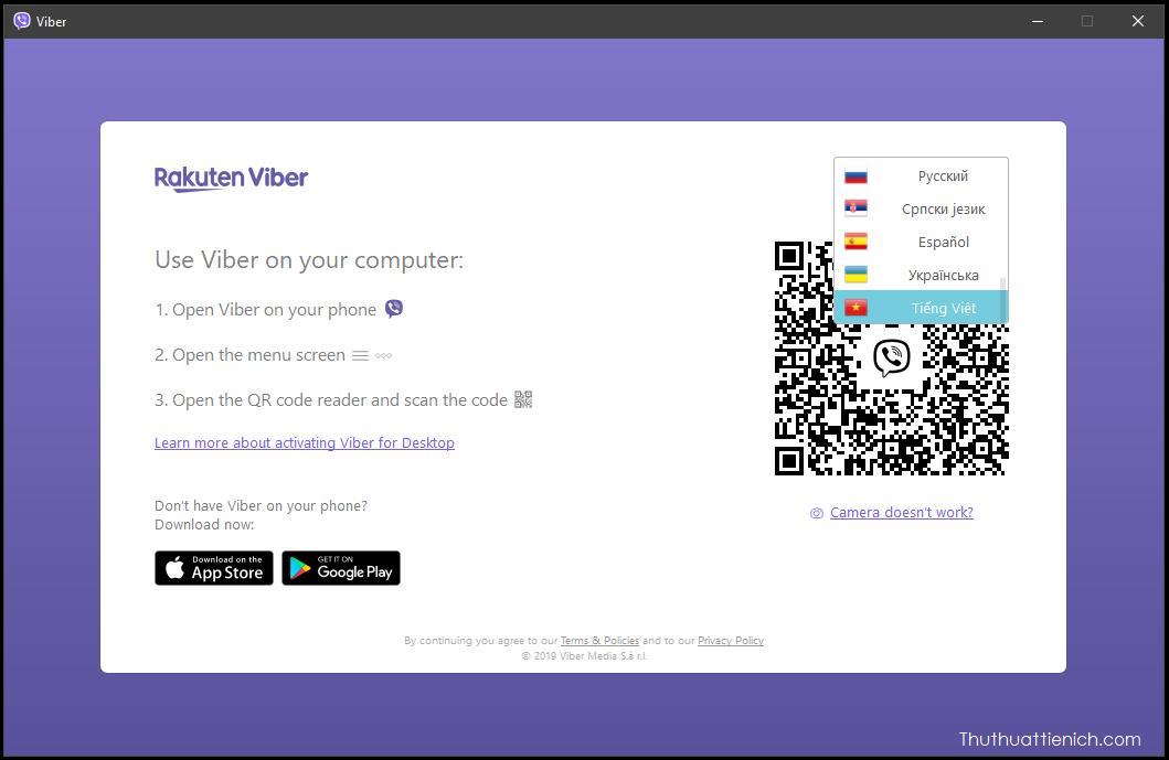 Sau khi cài đặt bạn mở phần mềm Viber, nhấn nút ngông ngữ (thường là English) chọn Tiếng Việt để thay đổi ngôn ngữ. Bên dưới phần ngôn ngữ là mã QR