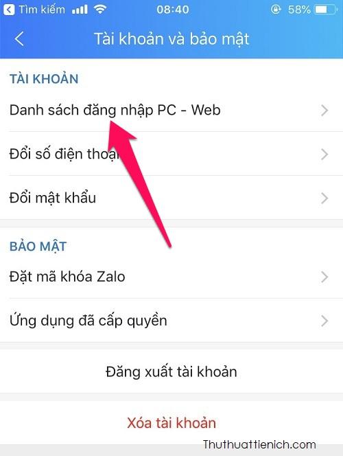 Nhấn chọn Danh sách đăng nhập PC - Web
