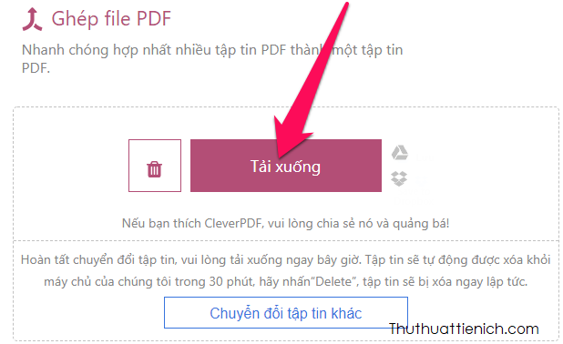 Nhấn nút Tải xuống để tải về file PDF sau khi ghép
