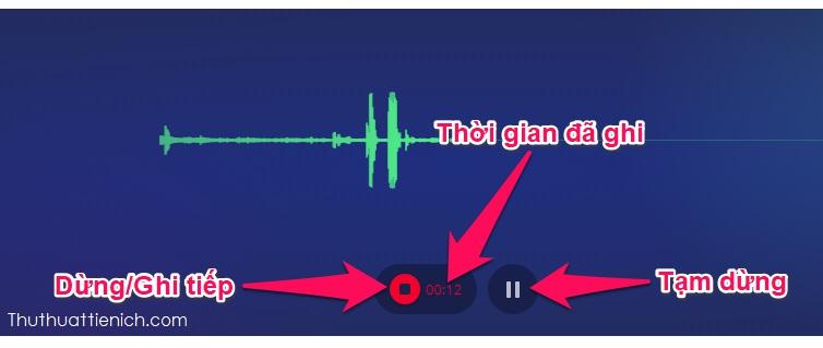Giao diện trình ghi âm khá đơn giản, bao gồm nút ghi/dừng, nút tạm dừng, thời gian đã ghi. Sau khi ghi xong bạn nhấn nút Dừng