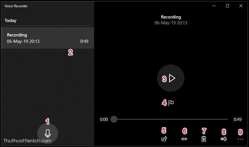 Sau khi âm xong, bạn sẽ được đưa về trình quản lý các đoạn âm thanh đã ghi