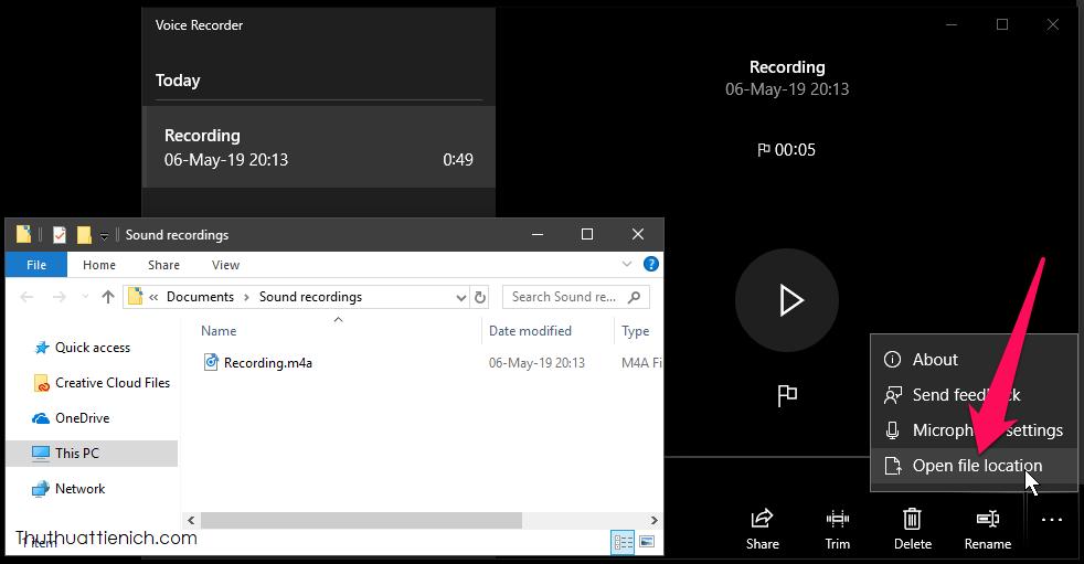 Trong các tùy chọn khác, bạn có thể cài đặt Microphone (Microphone Settings), mở thư mục lưu các file ghi âm