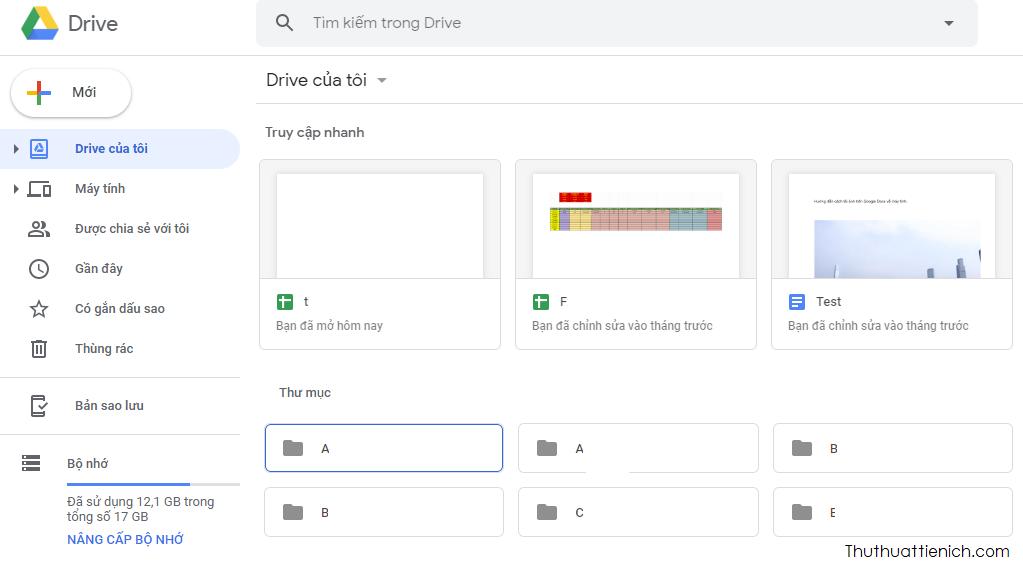 Giao diện Google Drive phiên bản web