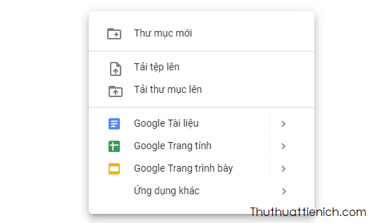 Menu chuột phải Google Drive