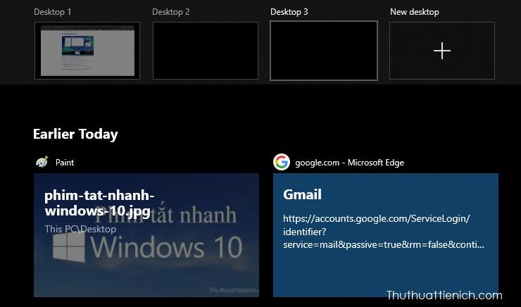 Phím tắt desktop ảo