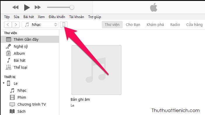 Nhấn vào biểu tượng iPhone bên dưới menu
