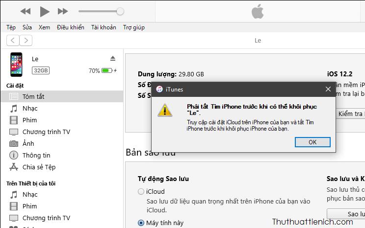 Đầu tiên bạn cần tắt Tìm iPhone trước khi có thể khôi phục iPhone bằng bản backup