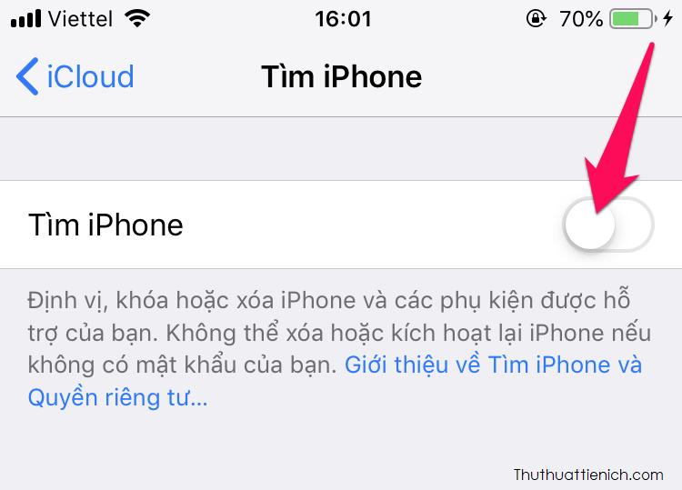 Để tắt Tìm iPhone, bạn mở Cài đặt → ID Apple → iCloud →Tìm iPhone → Tắt Tìm iPhone