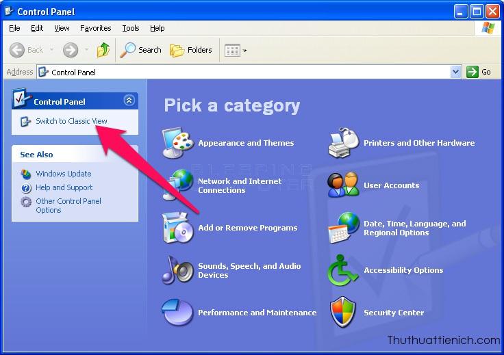 Nhấn nút Switch to Classic View trong menu bên trái