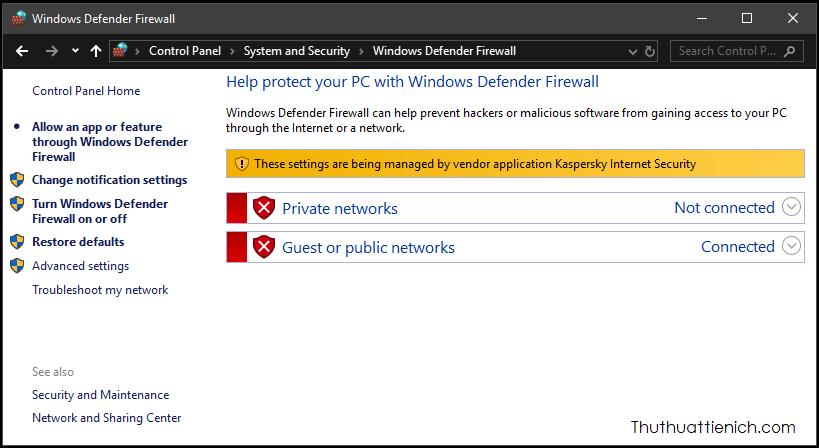 Phần mềm diệt virus Kaspersky Internet Security đang chiếm quyền quản lý Firewall