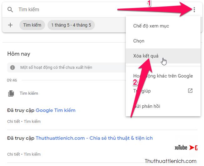 Nhấn nút 3 chấm dọc bên phải khung tìm kiếm chọn Xóa kết quả