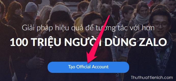 Nhấn nút Tạo Official Account