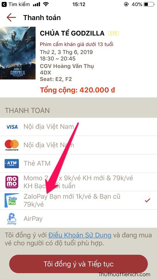 Ví dụ: Với tài khoản ZaloPay mới, chưa thanh toán lần nào, bạn có thể mua vé xem phim CGV với giá 1K, còn những lần sau bạn vẫn có thể mua vé xem phim CGV với giá khuyến mãi là 79K