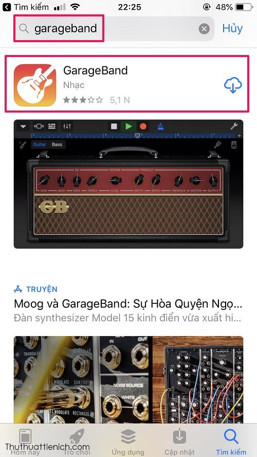 Cài đặt ứng dụng Garageband