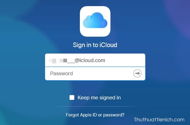Đăng nhập với tài khoản và mật khẩu iCloud của bạn