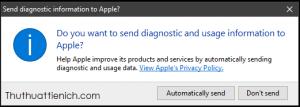 Bạn chọn Don't send để không gửi và Automatically send để tự động gửi