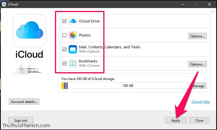 Chọn các dịch vụ sẽ đồng bộ giữa máy tính và iCloud