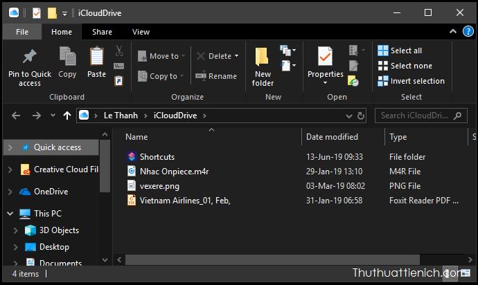 Thư mục iCloud trên máy tính