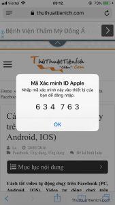 Lấy mã xác minh trên thiết bị Apple