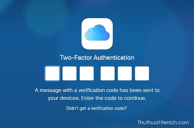 Nhập mã xác minh vào iCloud web
