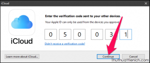 Nhập mã xác minh vào phần mềm iCloud rồi nhấn Continue
