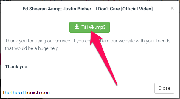Nhấn tiếp nút Tải về .mp3, chọn nơi lưu nhạc trên máy tính rồi nhấn nút Save