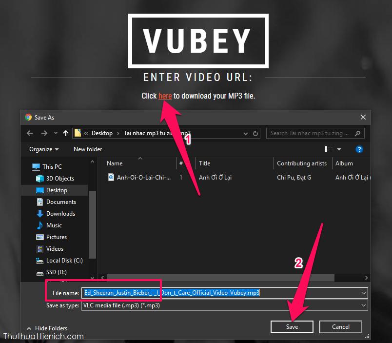 Chờ quá trình chuyển đổi xong, bạn nhấn vào dòng Click here, chọn nơi lưu nhạc trên máy tính rồi nhấn nút Save