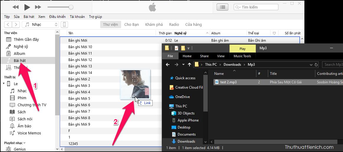 Nhấn vào tab Bài hát trong menu bên trái, sau đó kéo bài hát bạn muốn tạo nhạc chuông iPhone vào khung bên phải