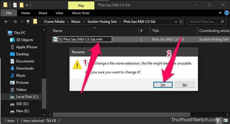 Nhấn chuột phải lên đoạn nhạc vừa tạo chọn Rename, đổi đuôi file từ m4a sang m4r → nhấn Yes để xác nhận thay đổi