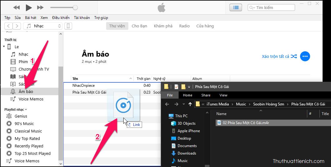 Nhấn vào tab Âm báo trong phần Thiết bị (tên Thiết bị của bạn) → Giữ vào kéo file nhạc vừa đổi sang m4r ở trên vào khung bên phải (Âm báo)