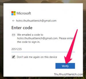 Nhập mã rồi nhấn nút Verify
