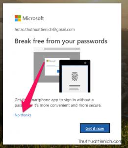 Skype sẽ hỏi bạn có muốn dùng smartphone để đăng nhập không cần mật khẩu không. Nhấn No thanks để tiếp tục đến trang đổi mật khẩu