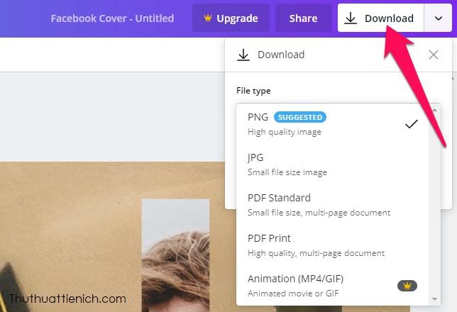 Cuối cùng, nhấn nút Download góc trên cùng bên phải, chọn định dạng file tải về, mặc định là PNG rồi nhấn nút Download