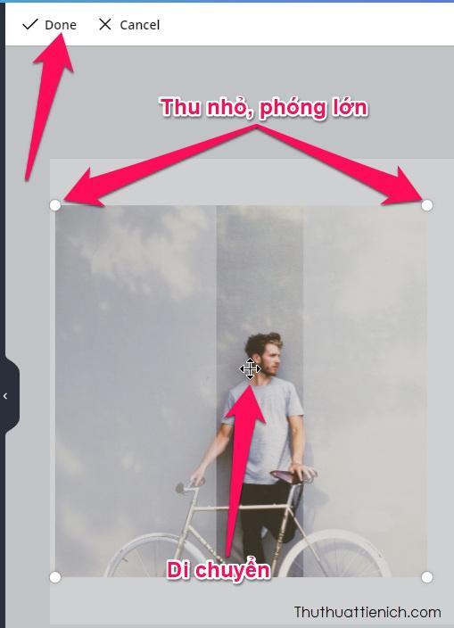 Nhấn đúp vào hình ảnh trong khung hình bạn sẽ thấy các tùy chỉnh như di chuyển, thu nhỏ - phóng lớn
