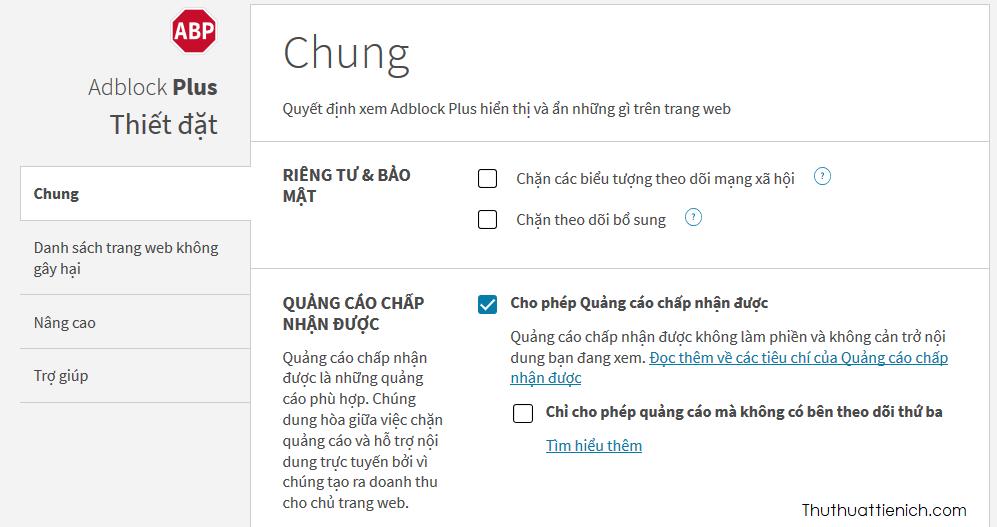 AdBlock Plus có nhiều tuỳ chọn chặn quảng cáo