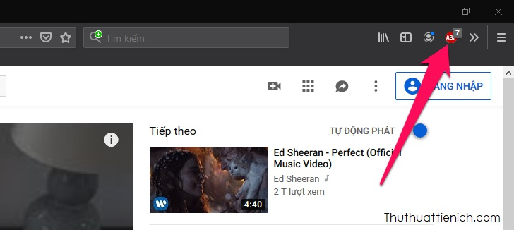 Mặc định sau khi được cài đặt, AdBlock Plus sẽ tự động chặn quảng cáo trên Youtube và các trang web bạn truy cập