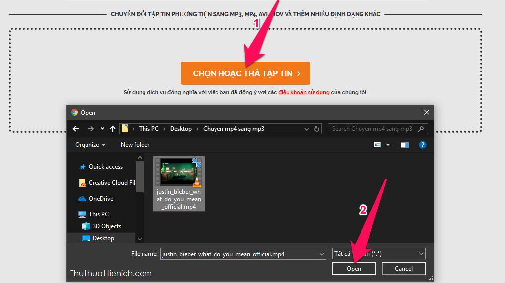 Nhấn nút Chọn hoặc thả tập tin rồi chọn video mp4 trên máy tính của bạn rồi nhấn nút Open