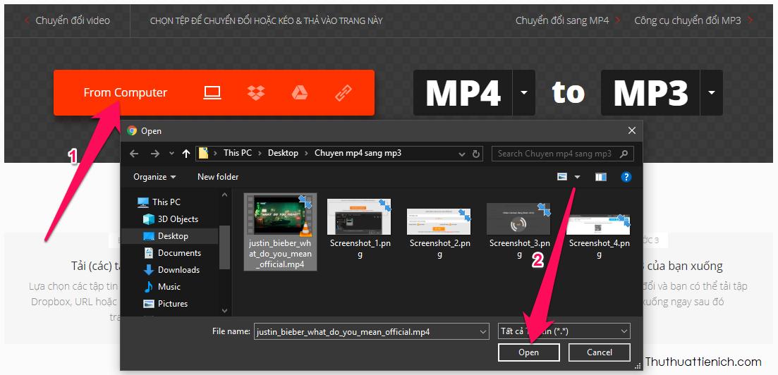 Nhấn nút From Computer, chọn video mp4 muốn chuyển đổi trên máy tính rồi nhấn nút Open