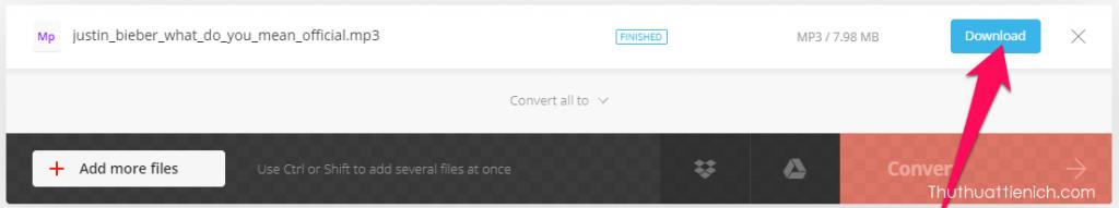 Sau khi chuyển đổi xong, bạn nhấn nút Download để tải file mp3 về máy tính