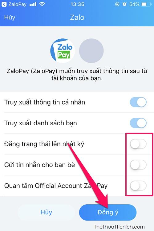 Lúc này ZaloPay sẽ yêu cầu các thông tin từ tài khoản Zalo của bạn