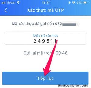 Nhập mã gửi về điện thoại → Tiếp tục