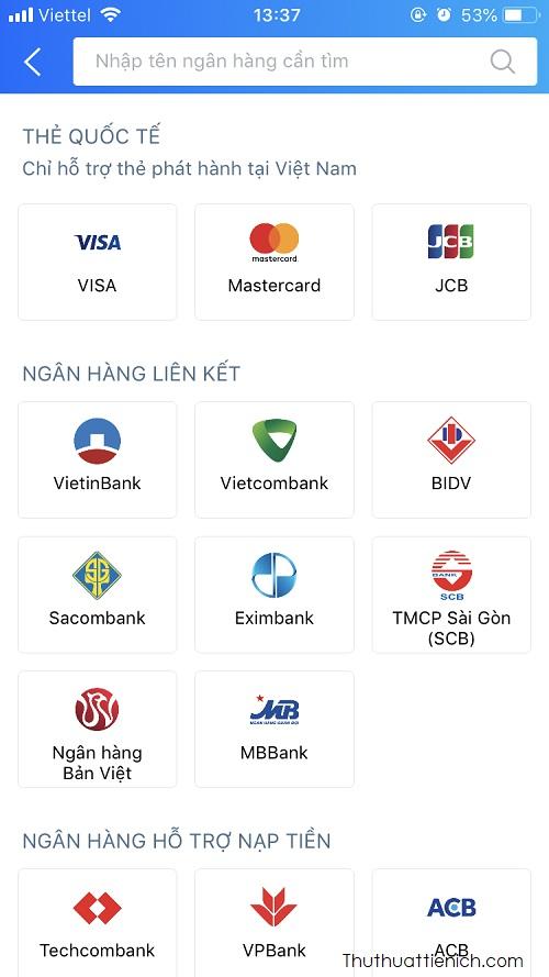 Các ngân hàng hỗ trợ ZaloPay
