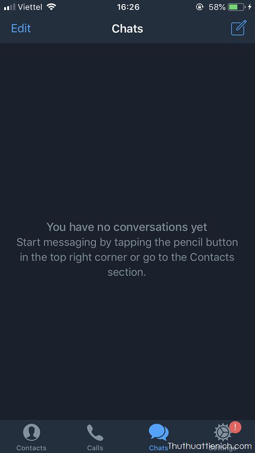 Giao diện ứng dụng Telegram trên điện thoại (nền tối)