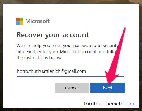 Nhập tên Skype hoặc số điện thoại, email đăng ký Skype rồi nhấn nút Next